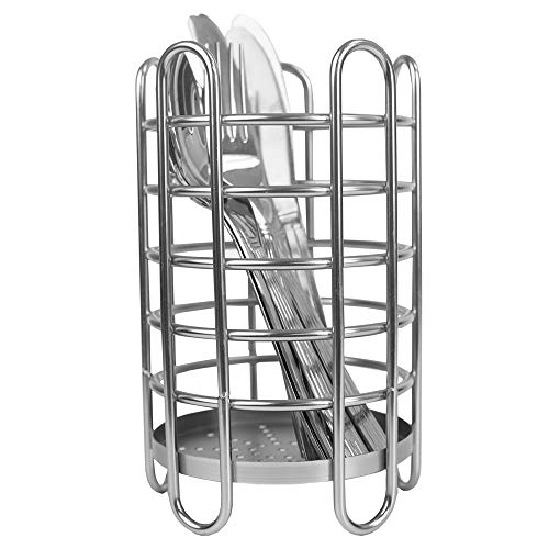 Home Basics Stainless Steel Simplicity Collection Free-Standing Cutlery Holder Kitchen Condiment Organizer and Flatware Metal Wire Utensil Caddy, Silver