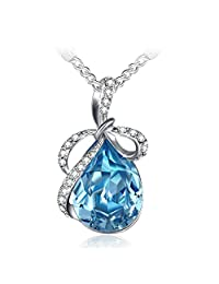 Cute Necklace, Fairy Season Girl Daughter Dolphin Pendant Necklace, Crystals from Swarovski with Jewelry Gift Box (color2)
