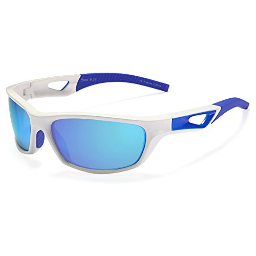 Siren Polarized Sports Sunglasses with TR90 Unbreakable Frame and Case – Mirror Blue Lens White & Blue Frame
