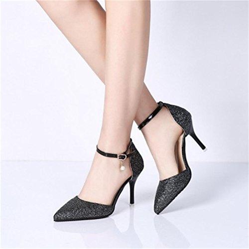 d907cb29c215 ... YE Damen Ankle Strap Glitzer Pumps Spitze Stiletto High Heels mit  Riemchen und 9cm Absatz Elegant