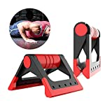 Hetesupply Fitness Foldable Push-up Bars Stable Triangle Stand Non-Slip Handles Comfortable Foam Grip for Man and Women Pushups Training Exercise Workout (Red)