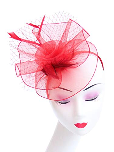 3818dd8bc069 Fascinator Women's Organza Church Kentucky Derby British Bridal Tea Party  Wedding Hat Summer Ruffles Cap