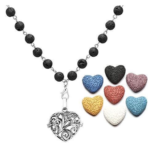 CrystalTears Aromatherapy Essential Oil Diffuser Necklace Heart Locket Pendant & 7 Dyed Lava Stone Beads w/Gift ()