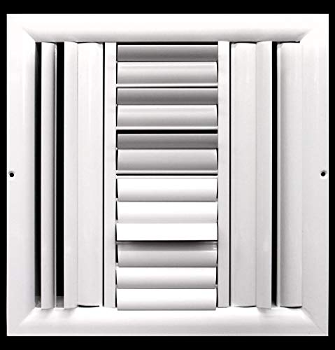 """10""""w X 8""""h 3-Way Aluminum Curved Blade Adjustable Air Supply HVAC Diffuser - Full Control Vertical/Horizontal Airflow Direction - Wide Front End Overlap - Vent Duct Cover"""
