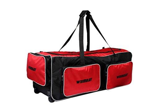 WOMBAT Black/Red Wheelie Cricket Kit Bag