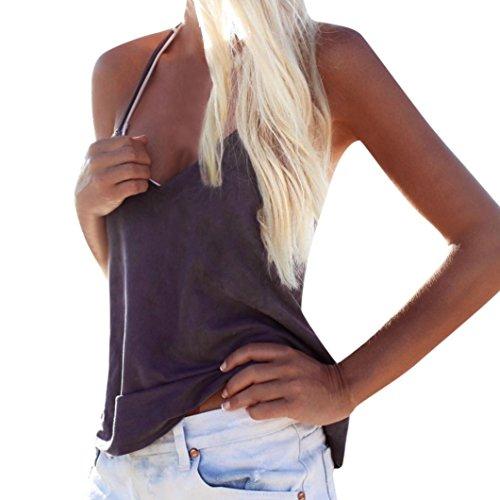 Tops Vest sans Violet T V Shirt Camisole Femmes Chemisier Loose Dbardeur Sexyville Tank Col Manche 67xxnZ