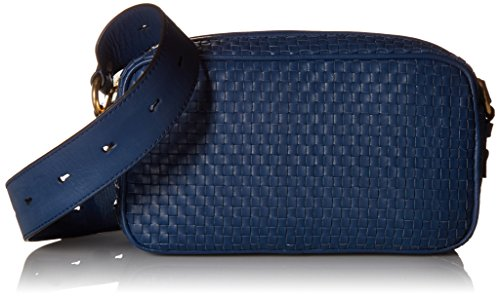 - Cole Haan Zoe Woven Leather Camera Crossbody Shoulder Bag, Navy Peony