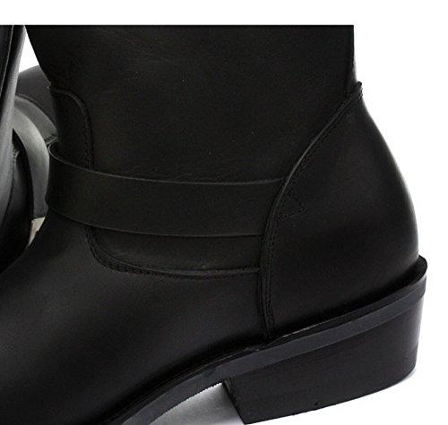 Amoladoras cargador Negro unisex de cuero de la hebilla del motorista Botas