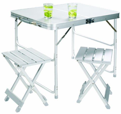 Grand Canyon Koffertisch Set inkl. 2 Hocker - klappbar, Aluminium, silber, 308006