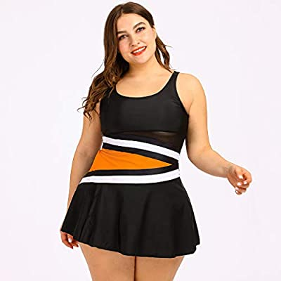 Women Splice Print Push Up Tankini Set Two Piece Swimsuit Plus Size Swimdress Beach Swimwear Tummy Control: Clothing