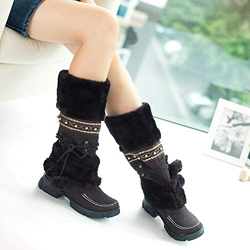 Calf Fur on Boots Black MORNISN Round Warm Toe Shoes Flats Women's Winter Pull Snow mid xqppwZYE