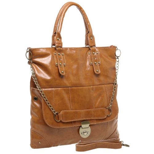 MG Collection PANYA Oversize Brown Everyday Shopper Tote Style Crossbody Handbag, Bags Central
