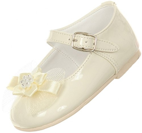 Little Baby Girls Classic Style Patent Bow Stud Flower Girls Shoes (77A15G) Ivory 6