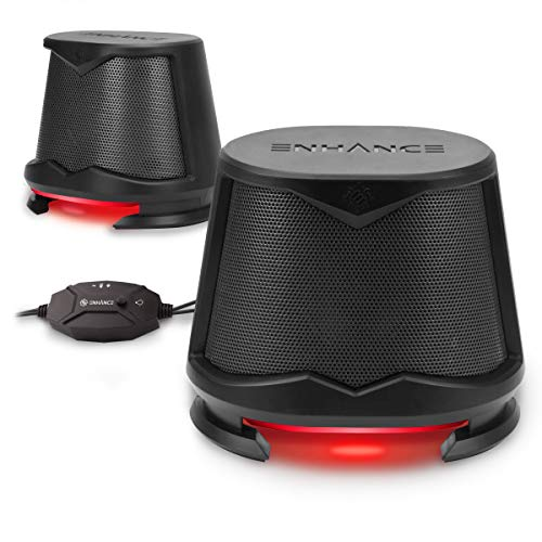 ENHANCE SB2 Computer Speakers with Red LED Glow Lights and 2