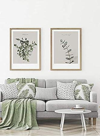 MILUKA Pack de 2 Láminas Decorativas para enmarcar colección FEUILLES (Láminas Hojas Verdes - Naturaleza) | Tamaño 50x70cm: Amazon.es: Hogar