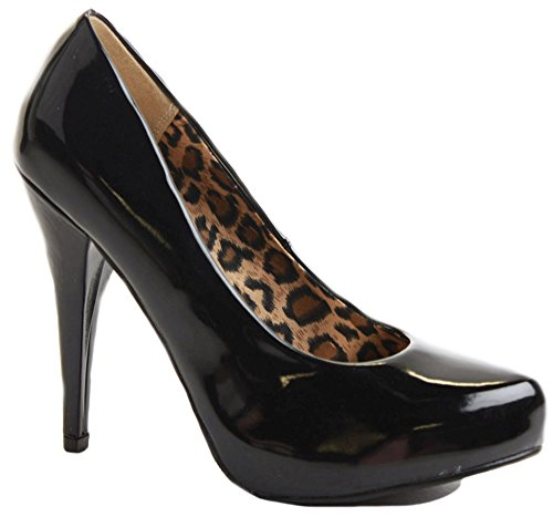 WOMENS LADIES HIGH MID HEEL STILETTO PLATFORM COURT WORK PARTY SHOES PUMPS SIZE Style A - Black Patent teET497BY