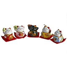A Set of Five Figurines of Maneki Neko Beckoning Lucky Money Cats-ceramic Figurines 79111