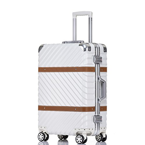 Unitravel Vintage Suitcase Lightweight Luggage + Lock, 29in, white Deal (Large Image)