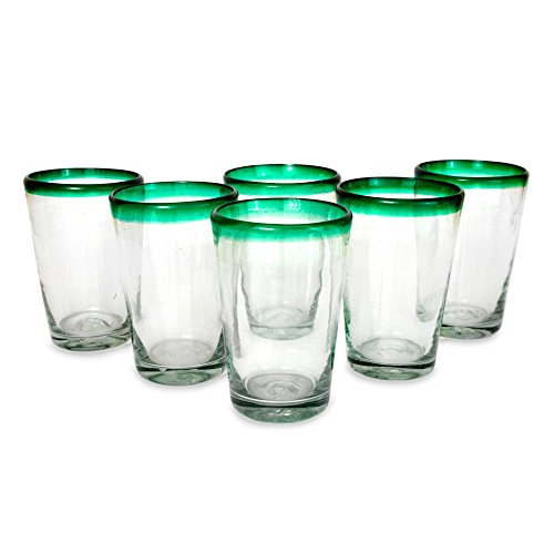 Clear Green Recycled Glass - NOVICA Artisan Crafted Clear Green Glass Recycled Glasses, 15 oz 'Conical' (set of 6)