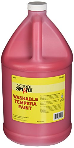 School Smart Washable Tempera Paint - Gallon - Red (Red Skin Smart)