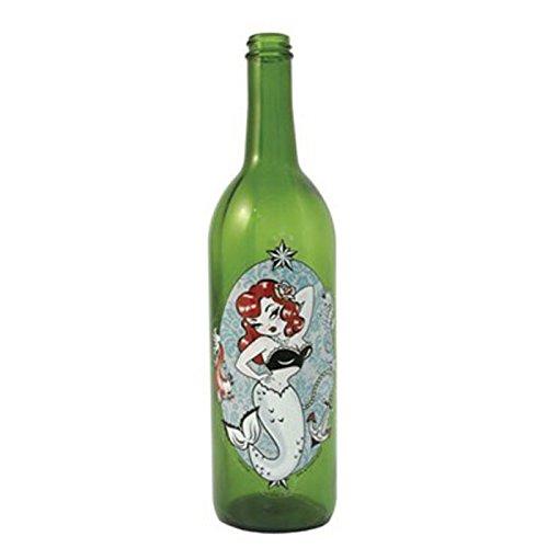WILDBERRY Green Glass Incense Smoking Bottle MERMAID design, Plus 10 Sticks Free AMBER - Incense Smoking Bottle