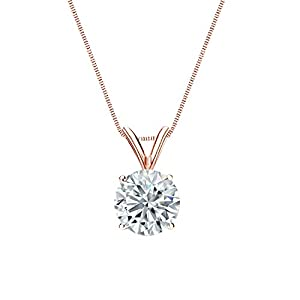 IGI Certified 14k Rose Gold 4-Prong Basket Round-Cut Diamond Solitaire Pendant (1 cttw, G-H, SI1-SI2)