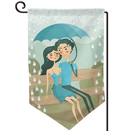 (lsrIYzy Garden Flag,Couple Sitting On A Park Bench Under The Rain with Umbrella Romantic Autumn Scene,12.5x18.5 inch)