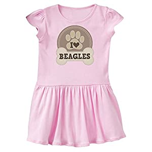 inktastic - I Love Heart Beagles Toddler Dress 5/6 Ballerina Pink 21e9e