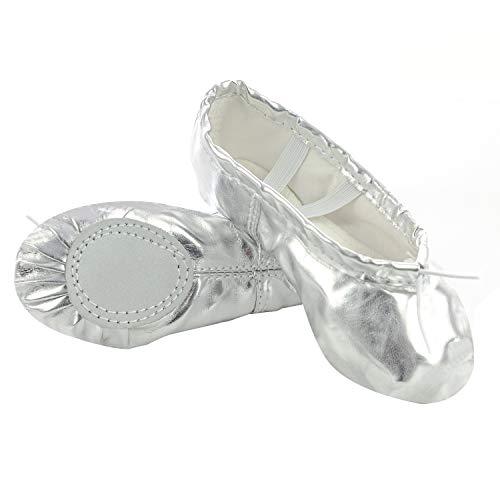 XJX Girls Leather Ballet Dance Shoes Split Sole Ballet Slipper Yogu Shoes Sliver 02 -