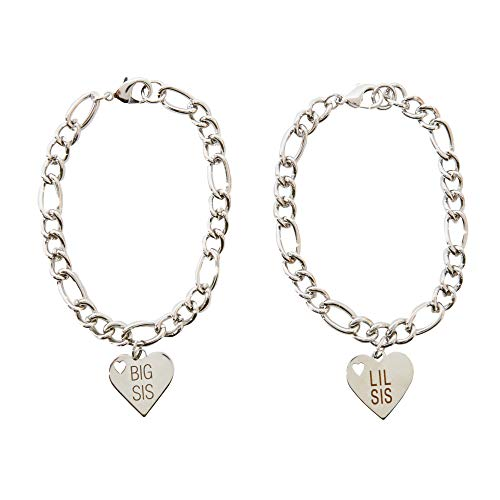 FROG SAC Big Sister Little Sister Bracelet Set of 2 - Silver Chain Bracelets with Stainless Steel Engraved Lil Sis Big Sis Heart Charms - Great Sisters Gift Idea - Quality Fashion Jewelry for Women -
