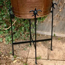 Wrought Iron Fleur de Lis Beverage Cooler Stand