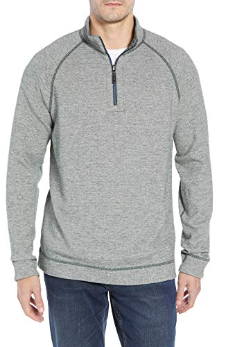 (Tommy Bahama On The Doubles Half Zip Sweatshirt (Color: Darkest Spruce Heather, Size L))