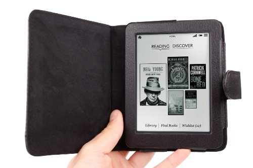 Stylish Black PU Leather Book Style Folio Case / Cover With Inner Slip Pocket Custom Designed For The Kobo Mini 5 Inch at Electronic-Readers.com