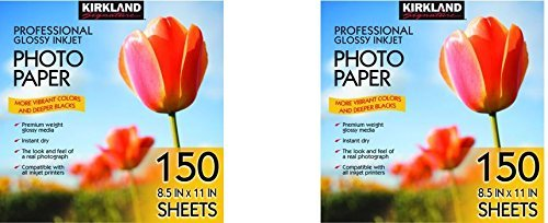 Kirkland Signature Professional Glossy Inkjet Photo Paper 8.5 x 11 Inch (150 Sheets) (2 Pack)