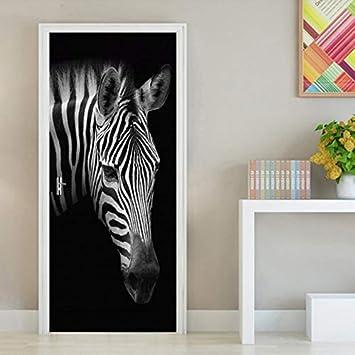 lzdyaya Rétro Noir Blanc Papier Peint Zèbre Bricolage 3D Porte ...