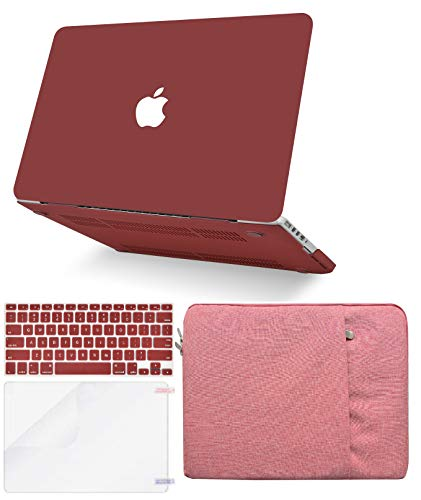 """KECC Laptop Case for MacBook Pro 13"""" (2020/2019/2018/2017/2016, Touch Bar) w/Keyboard Cover + Sleeve + Screen Protector (4 in 1 Bundle) Hard Shell A2159/A1989/A1706/A1708 (Matte Wine Red)"""