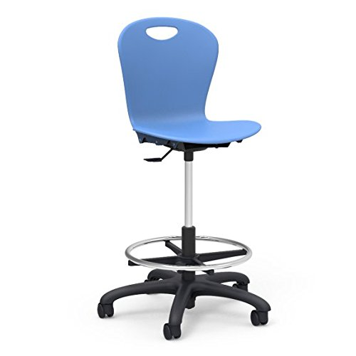 Virco Lab Stool, Sky Blue, Soft Plastic Shell, Adjustable Seat Height, Black Base, 1 Chair (ZLAB-BLU40)