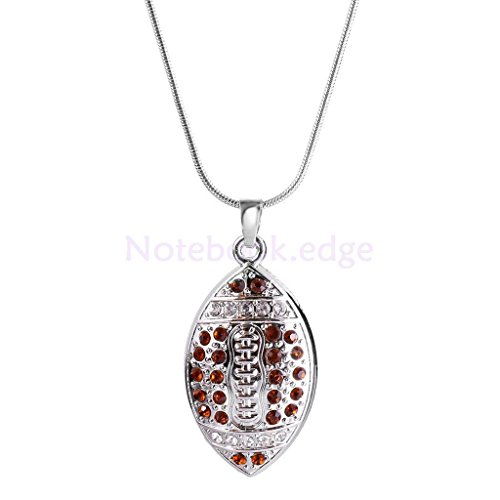 Men's Hip Hop Sports Football Rugby Ball Pendant Silver Chain Necklace by notebook.edge