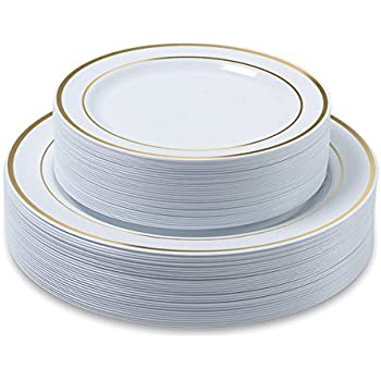 Disposable Plastic Plates - 60 Pack - 30 x 10.25 Dinner and 30 x 7.5 Salad  sc 1 st  Amazon.com & Amazon.com: Disposable Plastic Plates - 60 Pack - 30 x 10.25 Dinner ...