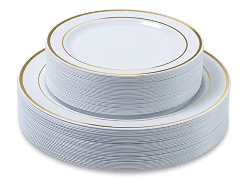 Aya's Cutlery Kingdom Disposable Plastic Plates - 60 Pack - 30 x 10.25 Dinner and 30 x 7.5 Salad Combo - Gold Trim Real China Design - Premium Heavy Duty