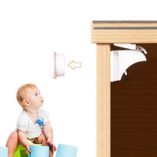 Adoric Magnetic Child Safety Cabinet Locks (6 Locks/2 Keys) with 3M Adhesive for Cabinets & Drawers