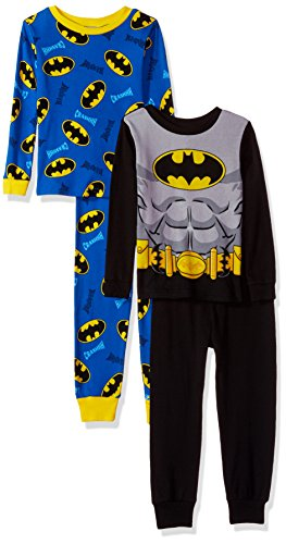 Batman Little Boys 4 Piece Cotton Pajama Set  Absolutely Gray  6