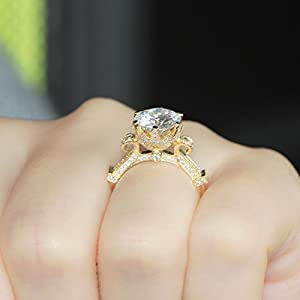 GOWE 3 Carat ct DEF Color Engagement Wedding Lab Grown Moissanite Diamond Ring Solid 58514K Yellow Gold