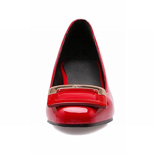Carol Scarpe Chic Donna A Forma Quadrata Decorazioni Polsini Moda Grosso Tacco Medio Pompe Scarpe Rosse