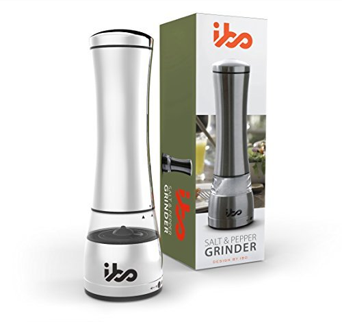 IBO Deluxe Salt or Pepper Grinder Set Stylish Mill Shaker Ceramic Blades Adjustable Coarseness Easy To Fill Brushed Stainless Steel and Glass Construction Ergonomic Design