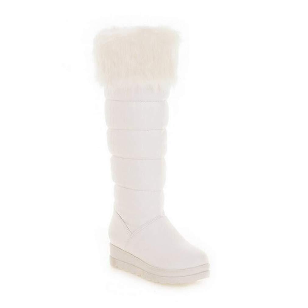 Hy Frauen-hohe Aufladungen Winter-warmes wasserdichtes Snowproof Schnee-Aufladungsstiefel Damen mittleres Kalb im Freienaufladungs-Schuh-Mode-Aufladungen weiß schwarz (Farbe   Weiß Größe   37)