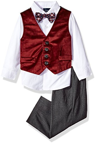 Cotton Velvet Vest (Nautica Boys' Set With Vest, Shirt, Pant, and Bow Tie, Dark Red Velvet, 12M)