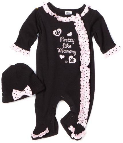 Baby Essentials Baby-girls Newborn 2 Piece Pretty like Mommy Footie With Cap