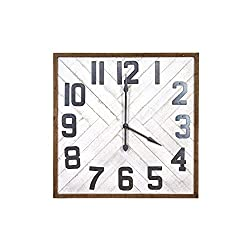 Creative Co-op Square Grey Wood & Metal Wall Clock