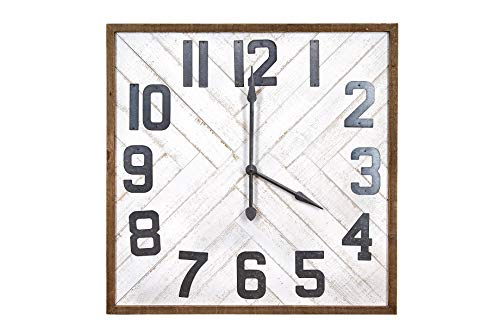 (Creative Co-op Square Grey Wood & Metal Wall Clock )